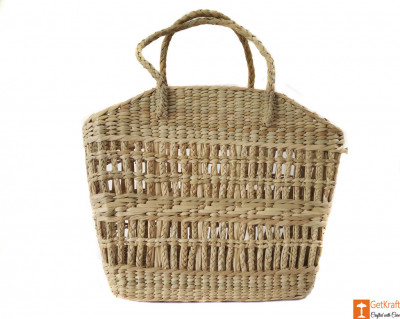 Natural Straw Handbag with simple and elegant design(#589)-gallery-0