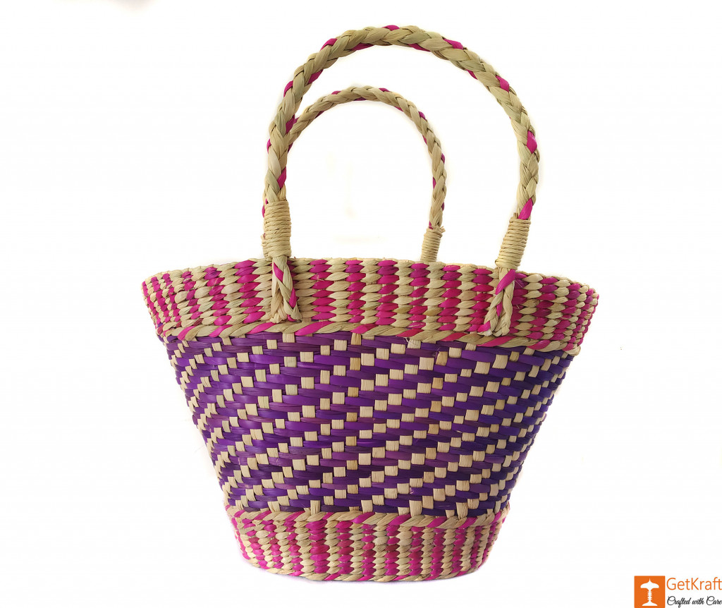 Natural Straw Medium Sized Tote Handbag with multicolored patterns(#590)-gallery-0