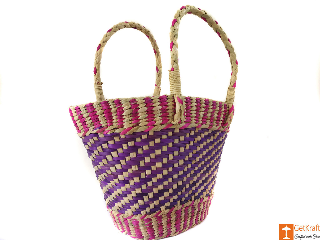 Natural Straw Medium Sized Tote Handbag with multicolored patterns(#590)-gallery-1