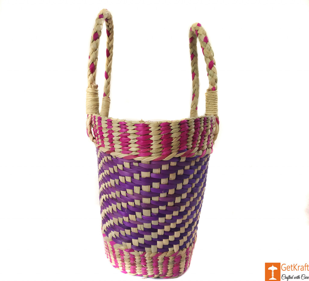 Natural Straw Medium Sized Tote Handbag with multicolored patterns(#590)-gallery-2
