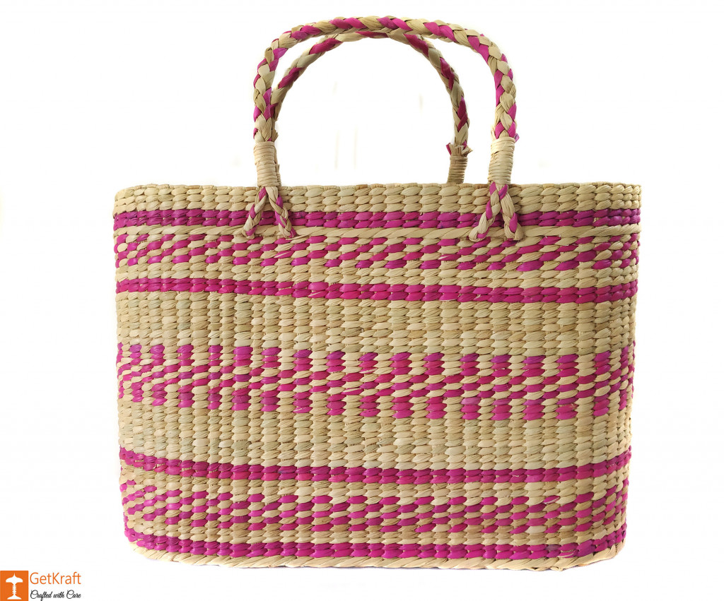 Large Natural Straw Handbag with colored patterns(#592)-gallery-0