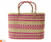 Large Natural Straw Handbag with colored patterns(#592) - getkraft.com