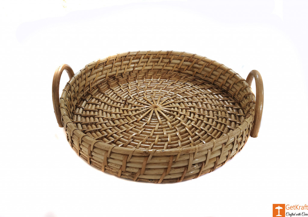Cane Round Serving Tray for Kitchen, Home Decor, Gift Ideas, Serving(#593)-gallery-1