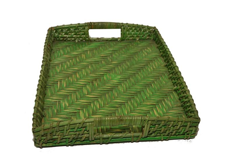 Ethnic Bamboo Serving Tray (Green) Length 40 cm(#600)-gallery-0
