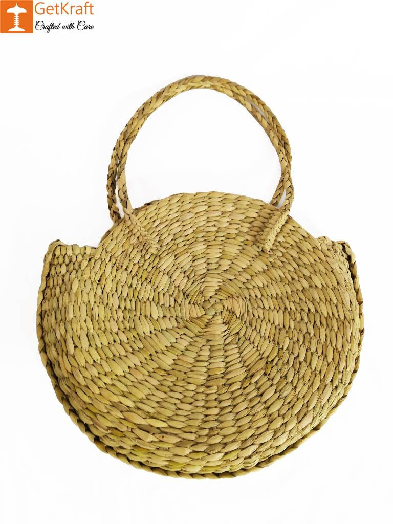 Simple Stylish Natural Straw Medium Sized Handbag with Small Handles(#603)-gallery-0