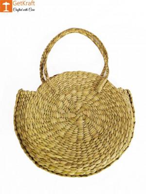 Simple Stylish Natural Straw Medium Sized Handbag with Small Handles(#603)-gallery-0