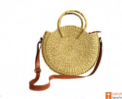 Natural Straw Large Handbag with Long Adjustable Belt for Women(#604)-gallery-0