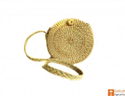 Natural Straw Round Handbag with medium sized handle(#605)-gallery-0
