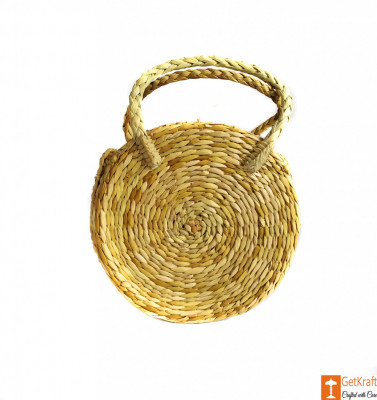 Natural Straw Round Handbag with small handle(#606)-gallery-0
