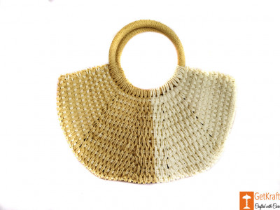 Trendy White and Beige Jute Handbag for Women(#608)-gallery-0