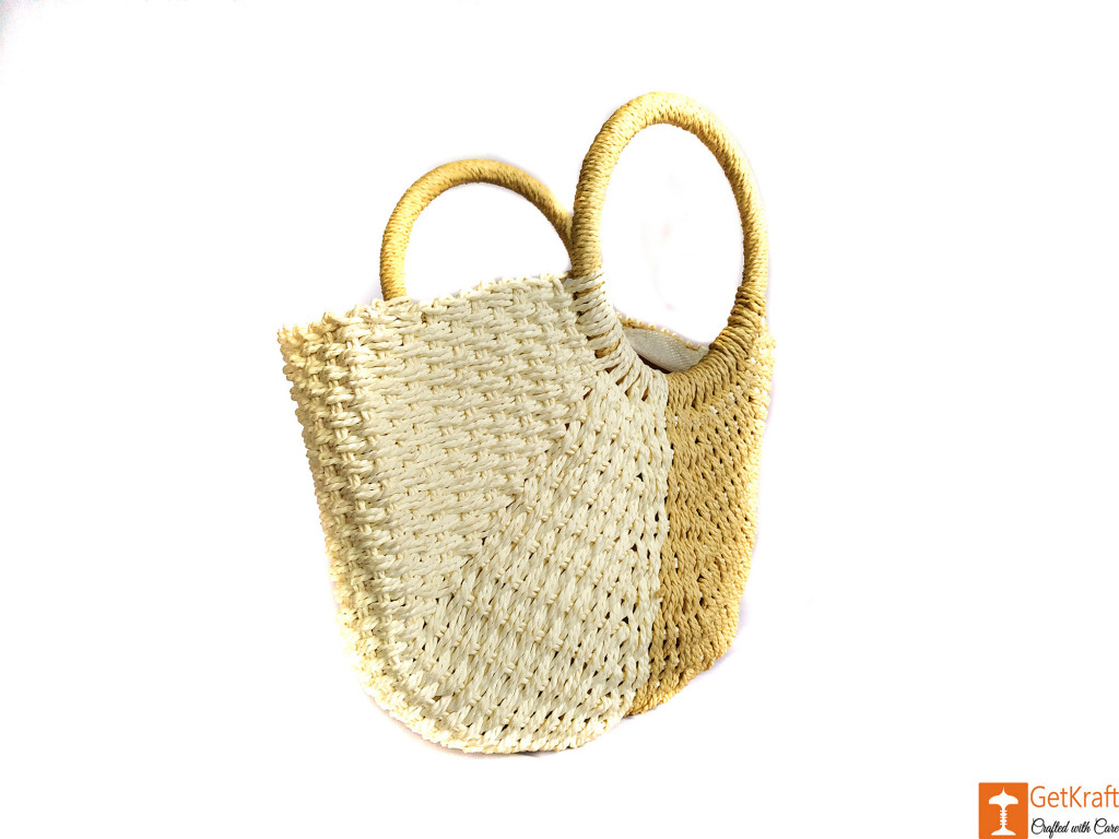 Trendy White and Beige Jute Handbag for Women(#608)-gallery-3