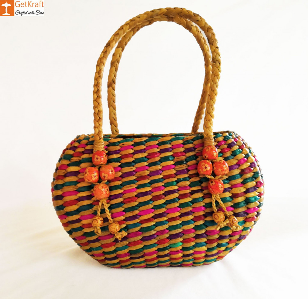Straw Handmade Multi-coloured Bag(#614)-gallery-0