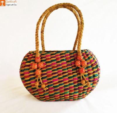 Straw Handmade Multi-coloured Bag(#614)-gallery-0