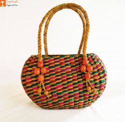 Straw Handmade Multi-coloured Bag(#614) - getkraft.com