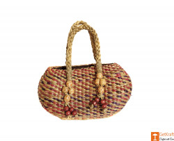 Water Hyacinth Handmade Multi-coloured Bag(#614) - getkraft.com