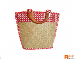 Sitalpati Handmade Bag with Red White Mix patterns(#615) - getkraft.com
