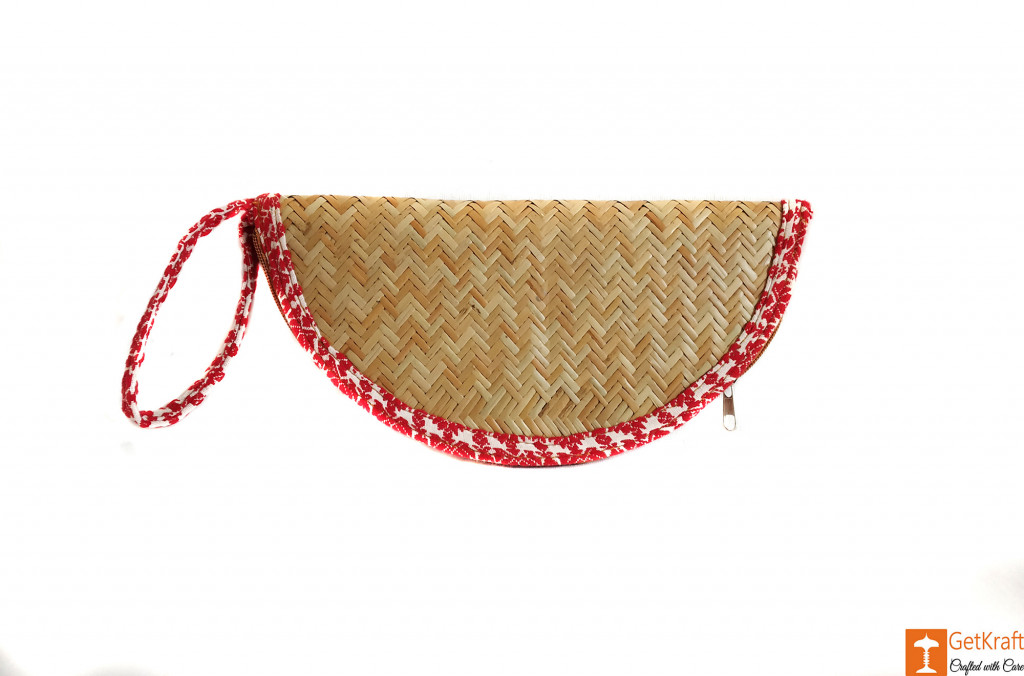 Designer Sitalpati Handmade Clutch with Embroidered Border(#617)-gallery-0