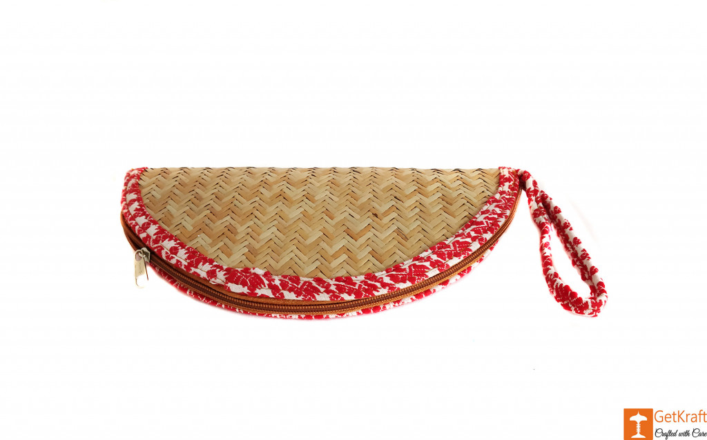 Designer Sitalpati Handmade Clutch with Embroidered Border(#617)-gallery-1