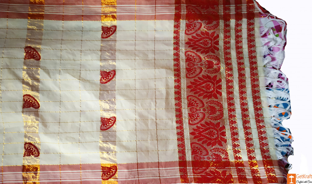 Assamese Gamosa (Pat Silk with Guna)(#631)-gallery-1