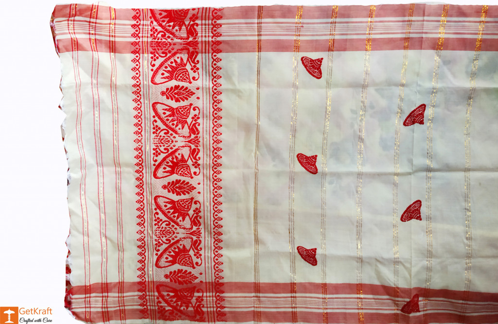Assamese Gamosa (Pat Silk) - Imprinted Mini Jaapis(#633)-gallery-1