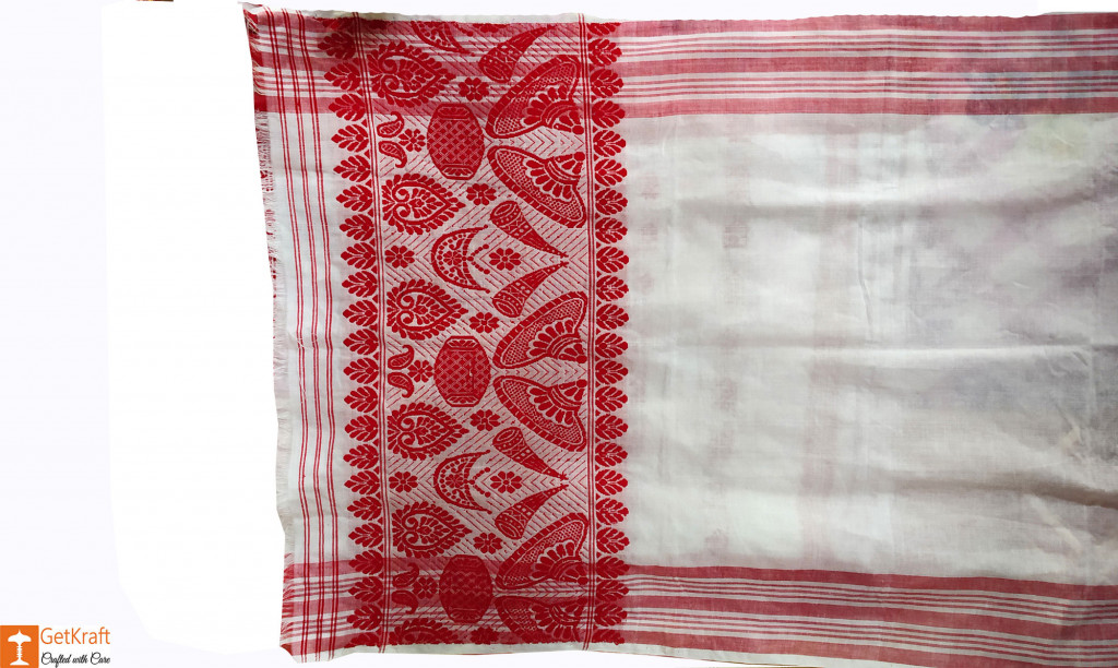 Plain Assamese Gamosa (Cotton)(#635)-gallery-1