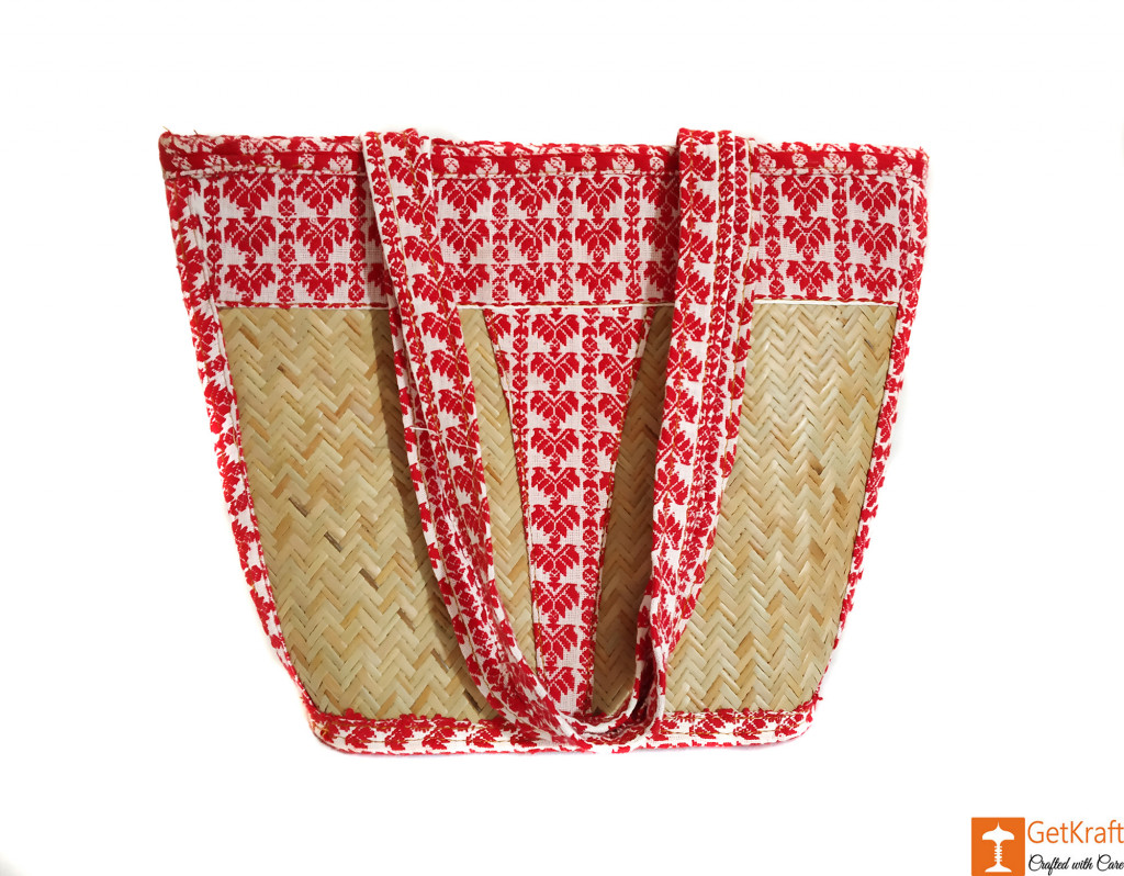 Sitalpati Handbag of Red and White Pattern designs(#636)-gallery-0