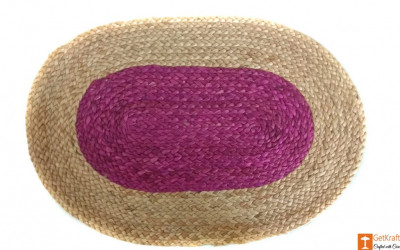 Jute Handmade Doormat (Pink and Natural Jute Color)(#642)-gallery-0