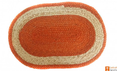 Jute Handmade Doormat (Orange and Natural Jute colour)(#646)-gallery-0