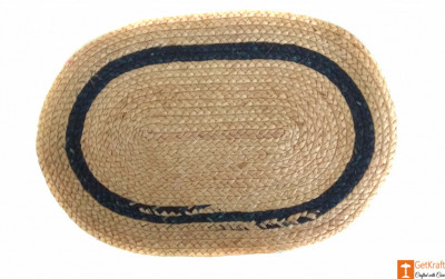 Jute Handmade Doormat(Natural Jute color with a dark green lining)(#647)-gallery-0
