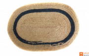 Jute Handmade Doormat(Natural Jute color with a dark green lining)(#647) - getkraft.com