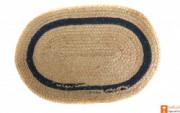 Jute Handmade Doormat(Natural Jute color with a dark green lining)(#647) - Getkraft.com