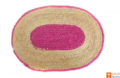 Jute Handmade Doormat (Pink and Natural Jute Color)(#651)-gallery-0