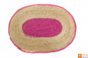Jute Handmade Doormat (Pink and Natural Jute Color)(#651) - getkraft.com
