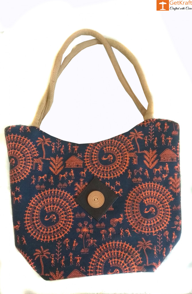 Multipurpose Jute Tote Bag (Navy Blue and Orange color)(#656)-gallery-0