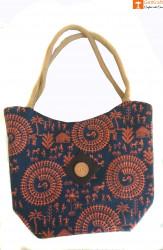 Multipurpose Jute Tote Bag (Navy Blue and Orange color)(#656) - getkraft.com