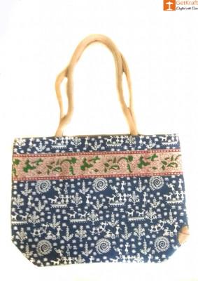 Multipurpose Jute Women Tote Bag (Multicolored)(#658)-gallery-0