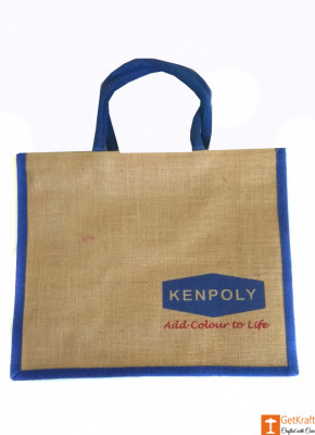 Jute Tote Bag (Navy blue and Natural Jute color)(#659)-gallery-0