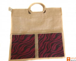 Jute Tote Bag (Maroon and Natural Jute color)(#660) - getkraft.com