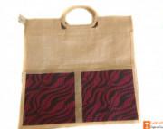 Jute Tote Bag (Maroon and Natural Jute color)(#660) - getkraft.com