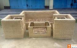 Cane Sofa Setting with Extra Table Set Ideal for Home Decor(#670) - getkraft.com