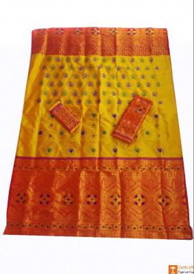Pat Mekhela Chadar Set in Contrasting Colors(#674)-gallery-0