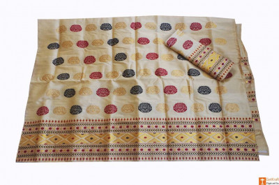 Attractive Toss Muga Silk Mekhela Chadar from Assam(#678)-gallery-0