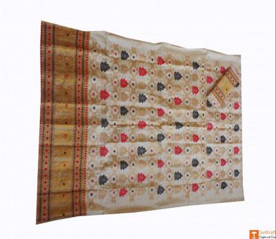 Ethnic Mekhela Chadar Set Cream and Golden Pat Muga Silk(#681)-gallery-0