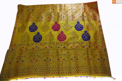 Assamese Silk Saree Pat Silk (Royal Yellow)(#697)-gallery-0