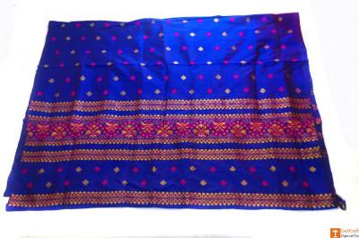 Contrasting Assamese Pat Chador Mekhela Set(Navy Blue)(#699)-gallery-0