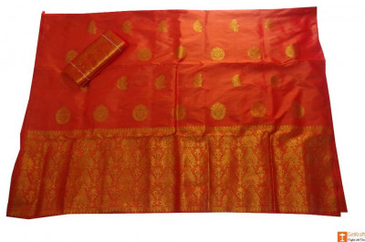 Orange Color 100 Pure Pat Silk Saree from Sualkuchi Assam(#701)-gallery-0