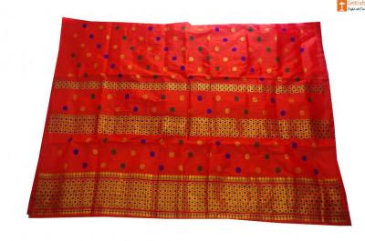 Assamese Ethnic Chador Mekhela Set(Orange)(#704)-gallery-0