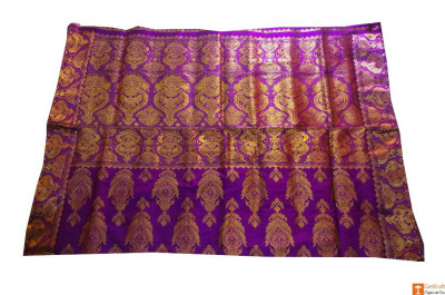 Purple and Golden Assamese Silk Saree Set from Sualkuchi(#706)-gallery-0