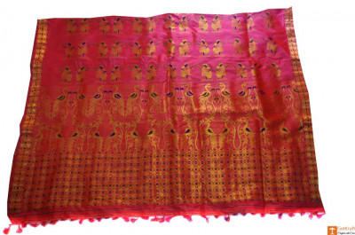 Pure Pat Silk Chador Mekhela Set with Peacock Patterns from Sualkuchi(#709)-gallery-0