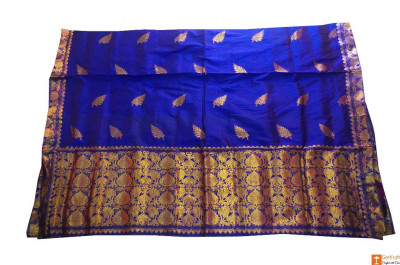 Contrasting Navy Blue and Golden Chador Mekhela Set from Sualkuchi(#711)-gallery-0